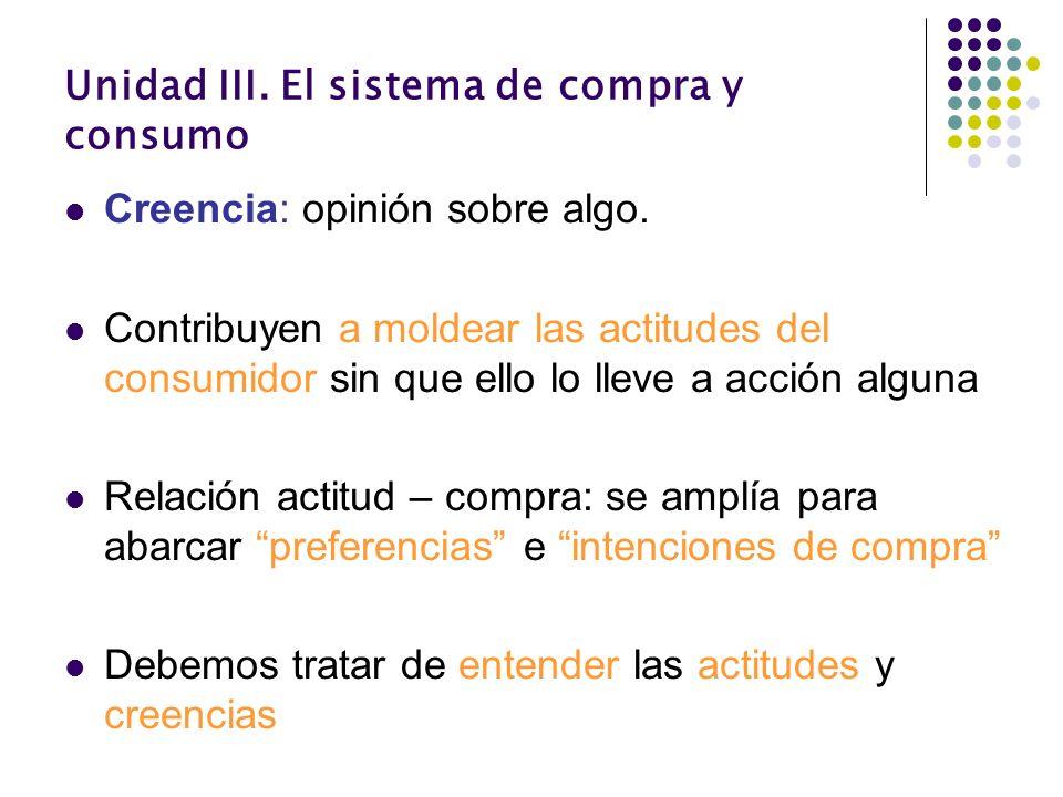 Unidad III. El sistema de compra y consumo Creencia: opinión sobre algo. Contribuyen a moldear las actitudes del consumidor sin que ello lo lleve a ac