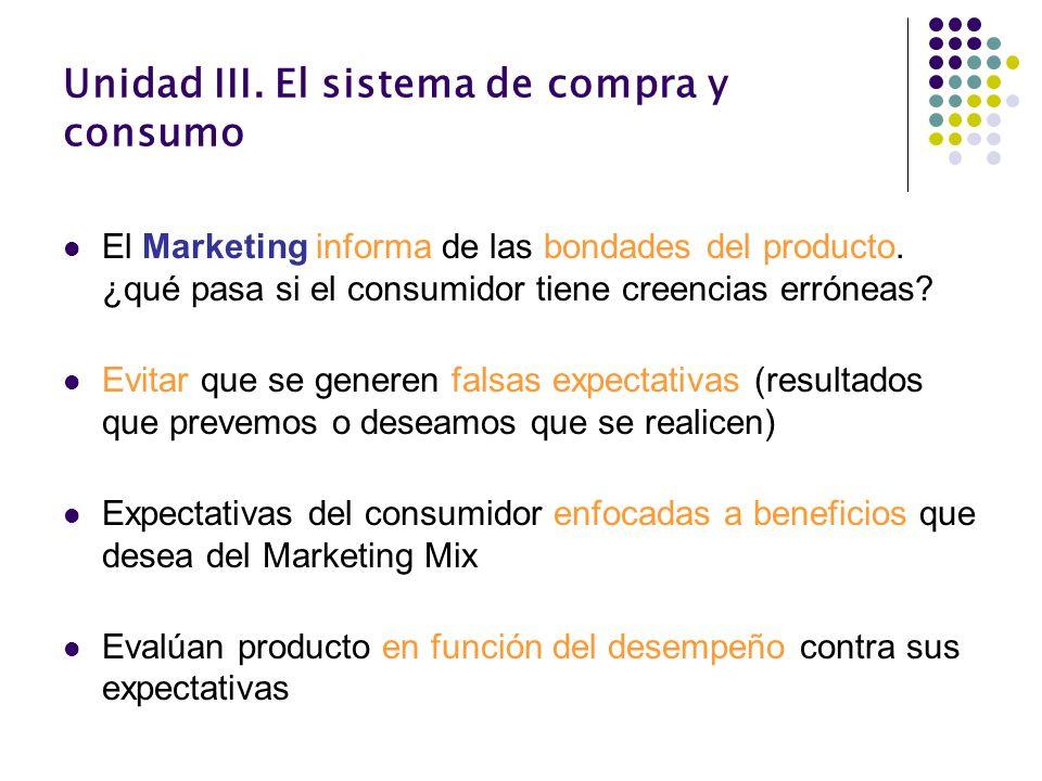 Unidad III. El sistema de compra y consumo El Marketing informa de las bondades del producto. ¿qué pasa si el consumidor tiene creencias erróneas? Evi