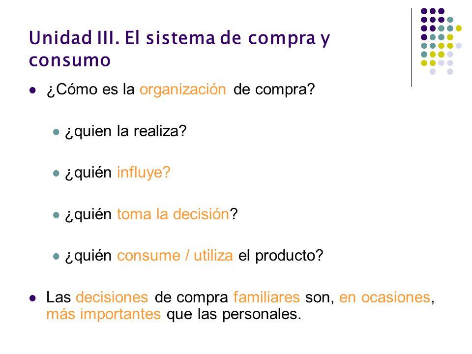 Unidad III. El sistema de compra y consumo ¿Cómo es la organización de compra? ¿quien la realiza? ¿quién influye? ¿quién toma la decisión? ¿quién cons