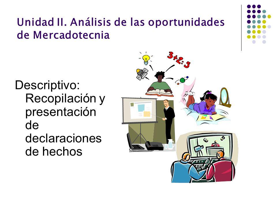 Unidad II. Análisis de las oportunidades de Mercadotecnia Descriptivo: Recopilación y presentación de declaraciones de hechos