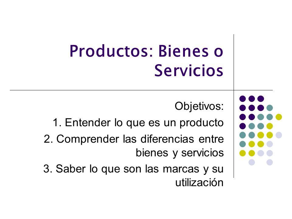 Productos: Bienes o Servicios Objetivos: 1. Entender lo que es un producto 2. Comprender las diferencias entre bienes y servicios 3. Saber lo que son