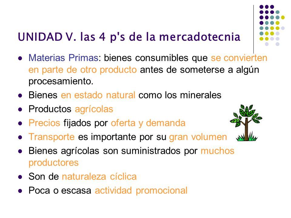 UNIDAD V. las 4 p's de la mercadotecnia Materias Primas: bienes consumibles que se convierten en parte de otro producto antes de someterse a algún pro
