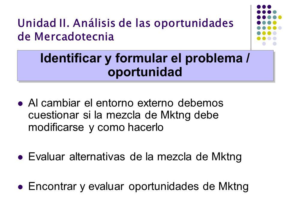 Unidad II. Análisis de las oportunidades de Mercadotecnia Al cambiar el entorno externo debemos cuestionar si la mezcla de Mktng debe modificarse y co