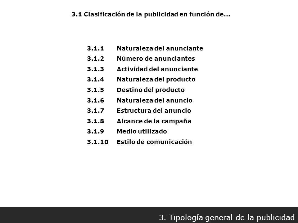 3.1 Clasificación de la publicidad en función de... 3. Tipología general de la publicidad 3.1.1Naturaleza del anunciante 3.1.2Número de anunciantes 3.