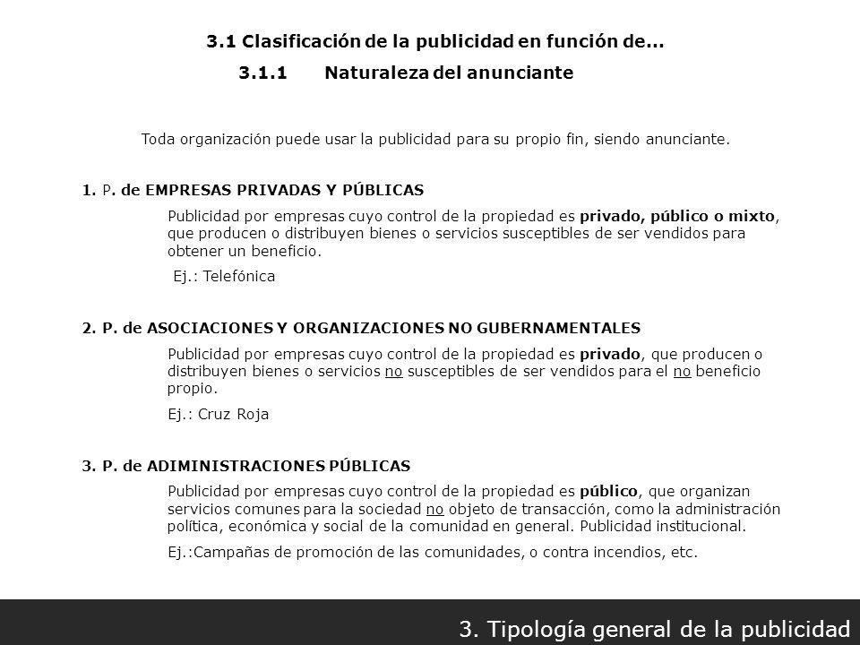 3.1 Clasificación de la publicidad en función de... 3. Tipología general de la publicidad 3.1.1Naturaleza del anunciante Toda organización puede usar
