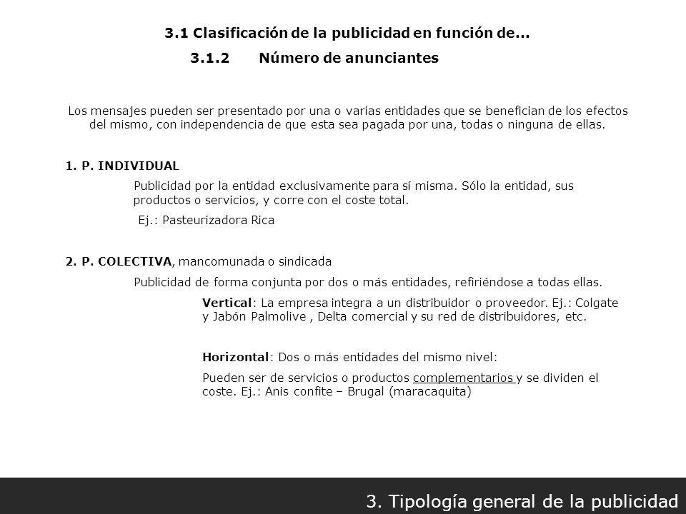 3.1 Clasificación de la publicidad en función de... 3. Tipología general de la publicidad 3.1.2Número de anunciantes Los mensajes pueden ser presentad