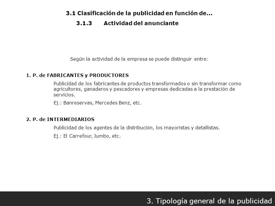 3.1 Clasificación de la publicidad en función de... 3. Tipología general de la publicidad 3.1.3Actividad del anunciante Según la actividad de la empre
