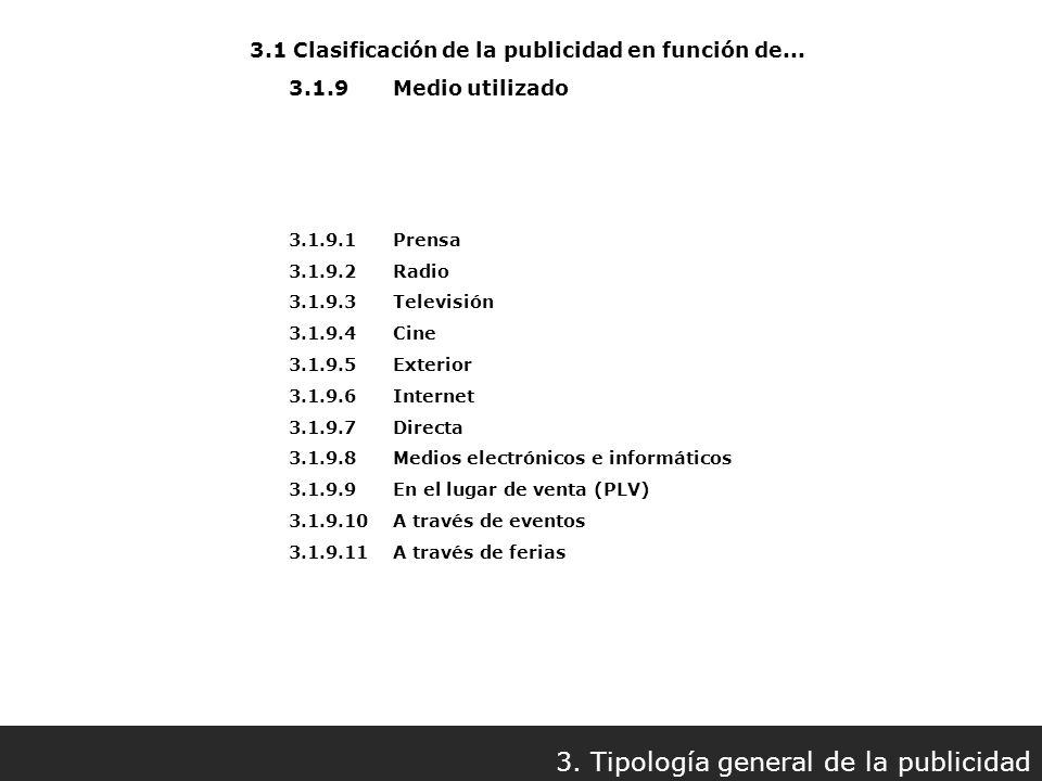 3.1.9.1 Prensa 3.1.9.2 Radio 3.1.9.3 Televisión 3.1.9.4 Cine 3.1.9.5 Exterior 3.1.9.6 Internet 3.1.9.7 Directa 3.1.9.8 Medios electrónicos e informáti