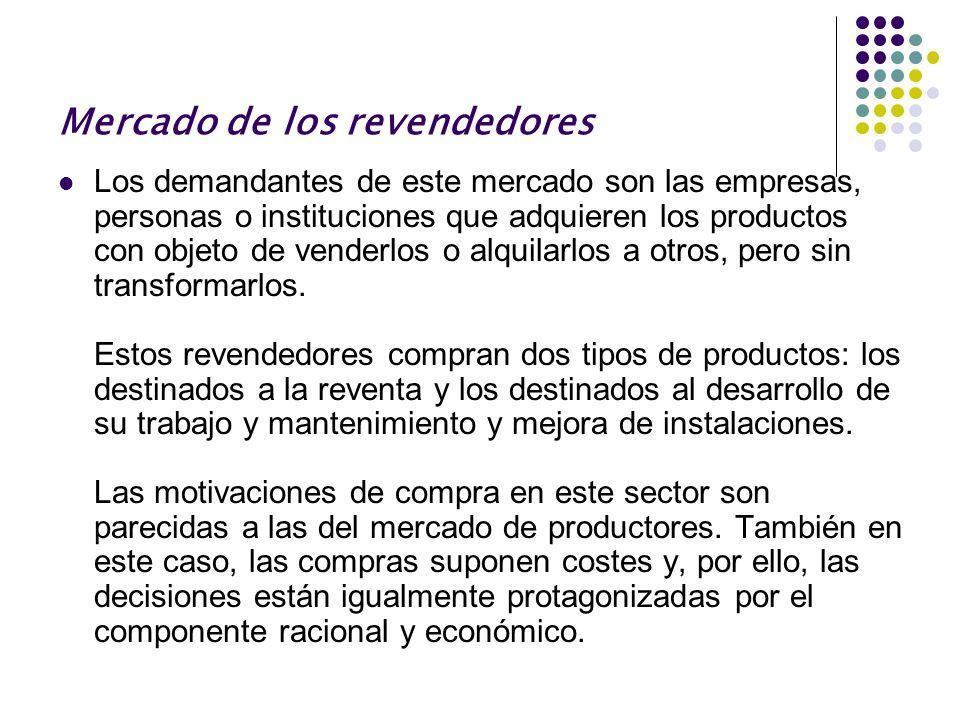 Mercado de los revendedores Los demandantes de este mercado son las empresas, personas o instituciones que adquieren los productos con objeto de vende