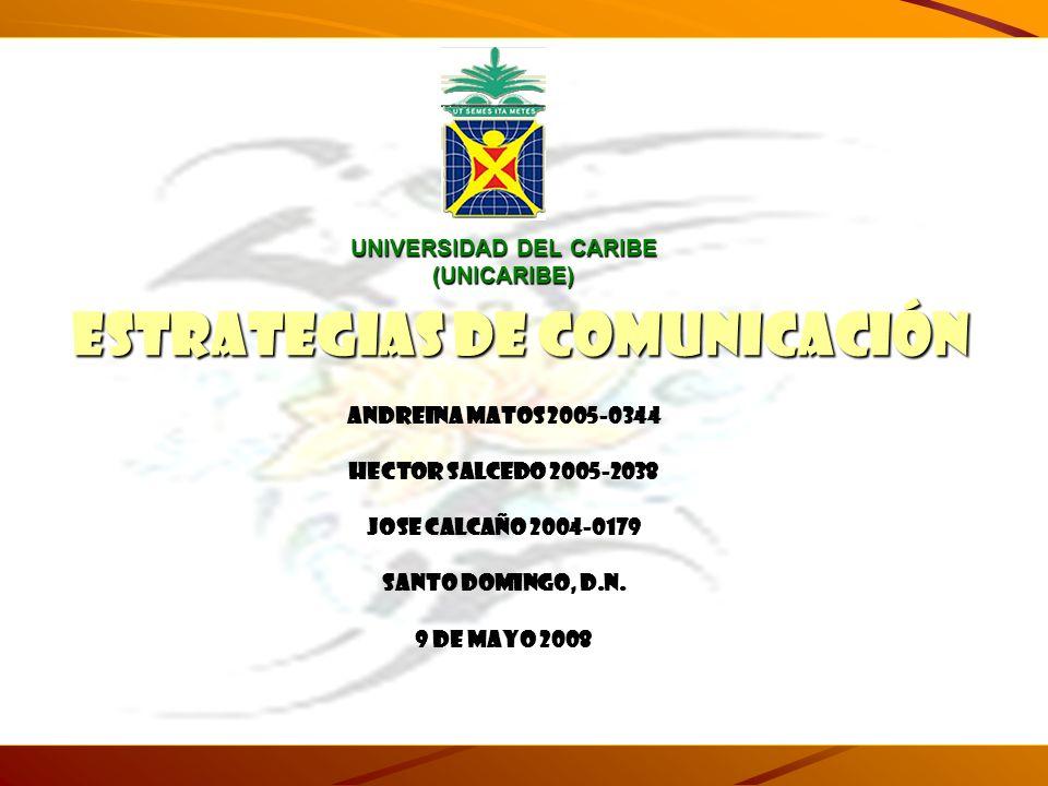 UNIVERSIDAD DEL CARIBE (UNICARIBE) ANDREINA MATOS 2005-0344 HECTOR SALCEDO 2005-2038 JOSE CALCAÑO 2004-0179 SANTO DOMINGO, D.N. 9 DE MAYO 2008 ESTRATE