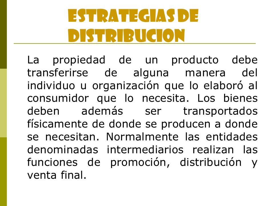 La propiedad de un producto debe transferirse de alguna manera del individuo u organización que lo elaboró al consumidor que lo necesita. Los bienes d