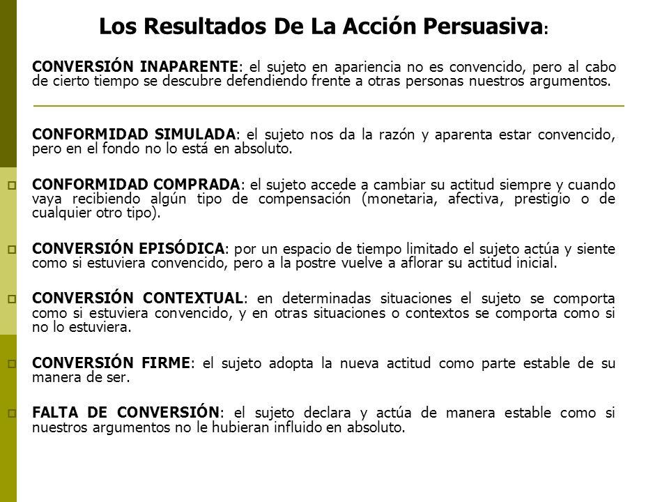 Los Resultados De La Acción Persuasiva : CONVERSIÓN INAPARENTE: el sujeto en apariencia no es convencido, pero al cabo de cierto tiempo se descubre de