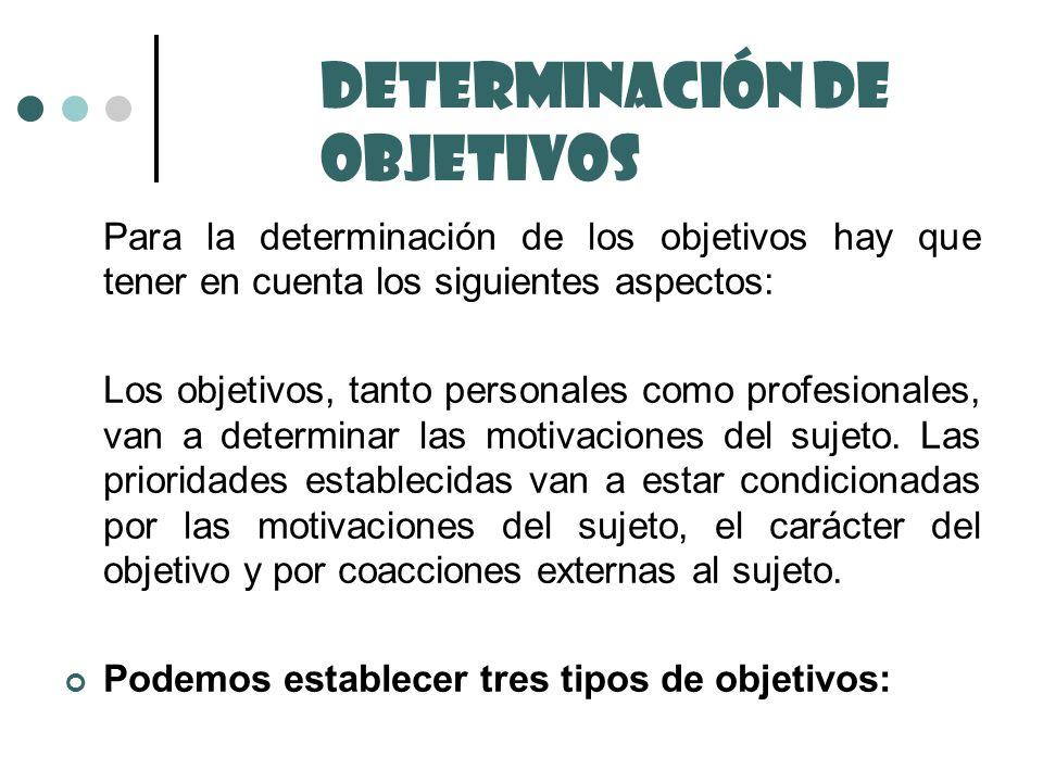 Para la determinación de los objetivos hay que tener en cuenta los siguientes aspectos: Los objetivos, tanto personales como profesionales, van a dete