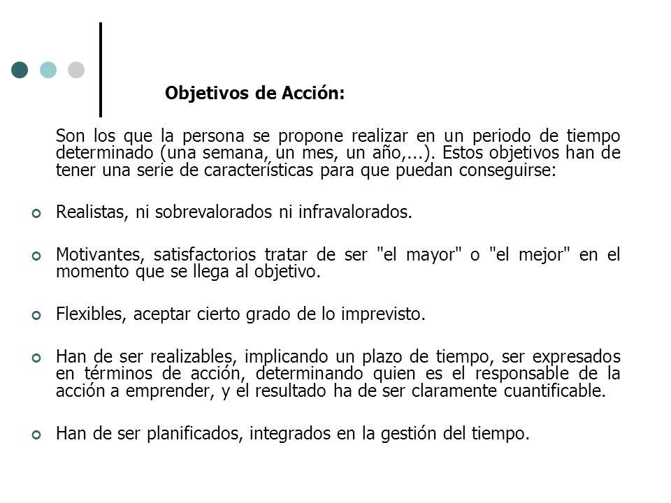 Objetivos de Acción: Son los que la persona se propone realizar en un periodo de tiempo determinado (una semana, un mes, un año,...). Estos objetivos