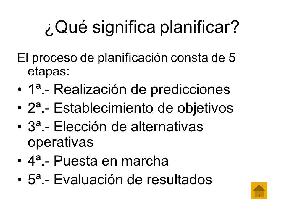 ¿Qué significa planificar? El proceso de planificación consta de 5 etapas: 1ª.- Realización de predicciones 2ª.- Establecimiento de objetivos 3ª.- Ele