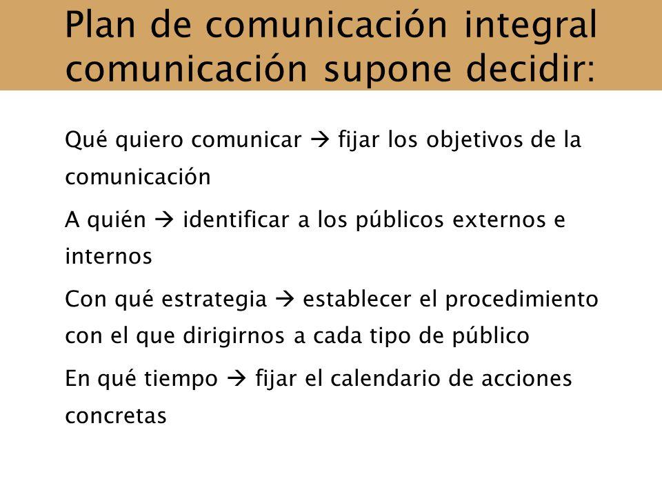 Plan de comunicación integral comunicación supone decidir: Qué quiero comunicar fijar los objetivos de la comunicación A quién identificar a los públi