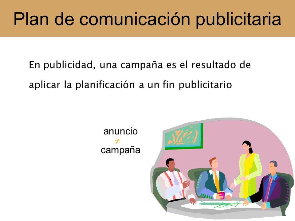 Plan de comunicación publicitaria Planificación de una campaña publicitaria 1.- Buscar la mejor solución posible a un problema de comunicación con un público masivo 2.- Crear, en el plan estratégico de comunicación, acciones coherentes con la política de comunicación e imagen de la empresa