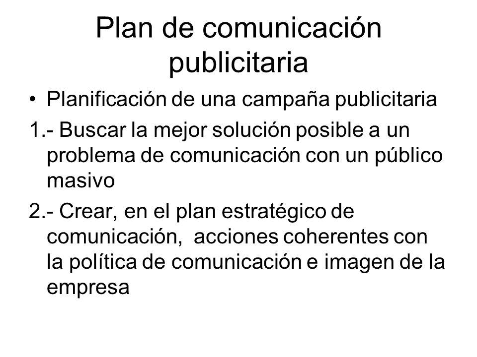 Plan de comunicación publicitaria Planificación de una campaña publicitaria 1.- Buscar la mejor solución posible a un problema de comunicación con un