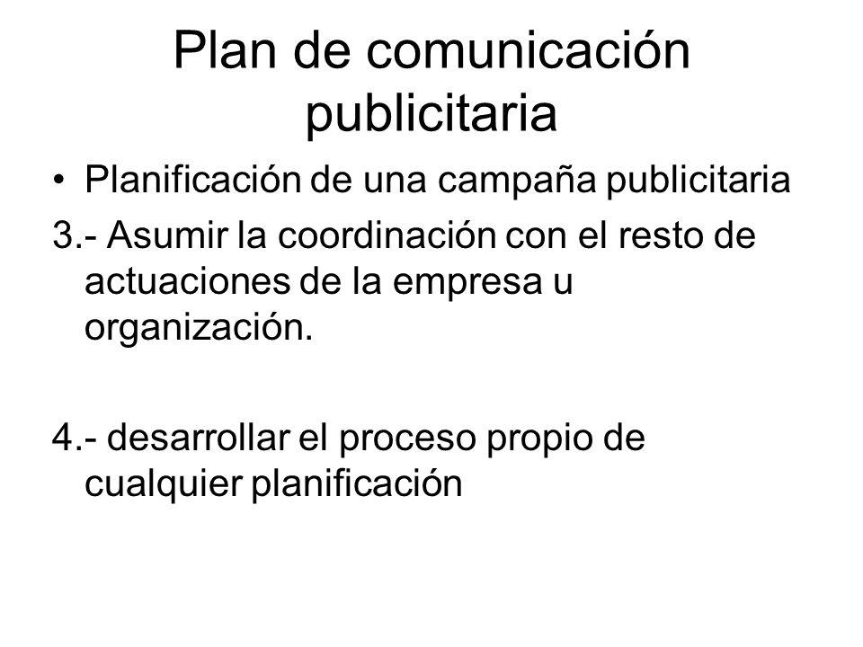 Plan de comunicación publicitaria Planificación de una campaña publicitaria 3.- Asumir la coordinación con el resto de actuaciones de la empresa u org