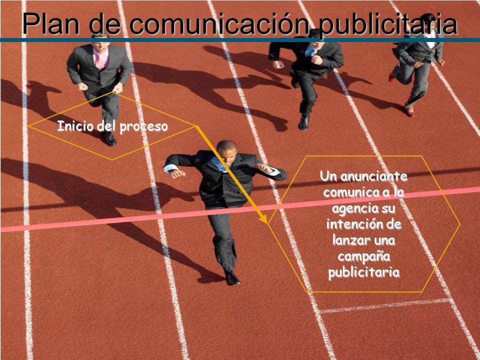 Plan de comunicación publicitaria Un anunciante comunica a la agencia su intención de lanzar una campaña publicitaria Inicio del proceso