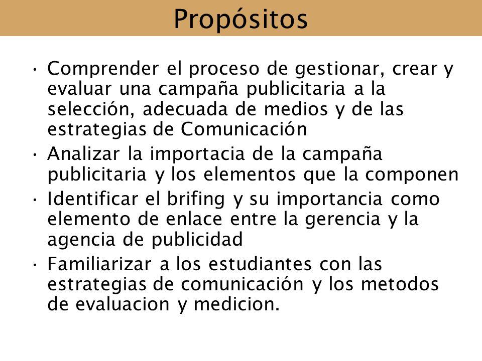 Propósitos Comprender el proceso de gestionar, crear y evaluar una campaña publicitaria a la selección, adecuada de medios y de las estrategias de Com