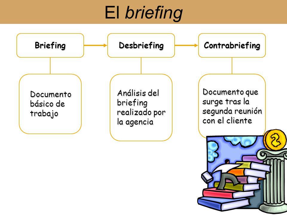 El briefingBriefingDesbriefingContrabriefing Documento básico de trabajo Análisis del briefing realizado por la agencia Documento que surge tras la se