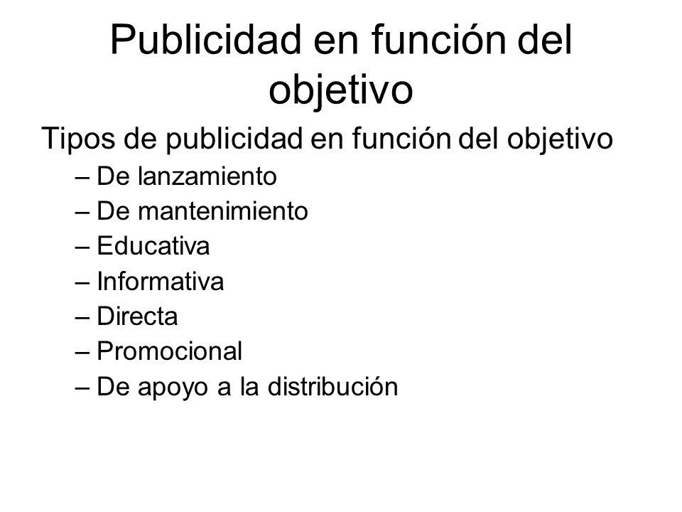 Publicidad en función del objetivo Tipos de publicidad en función del objetivo –De lanzamiento –De mantenimiento –Educativa –Informativa –Directa –Pro