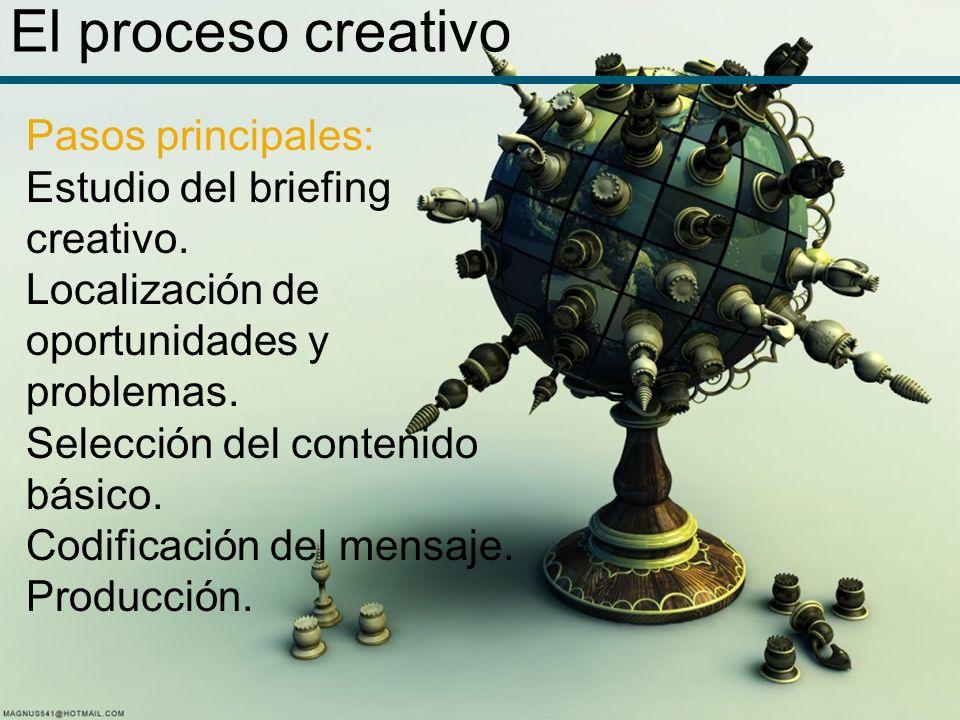 El proceso creativo Pasos principales: Estudio del briefing creativo. Localización de oportunidades y problemas. Selección del contenido básico. Codif