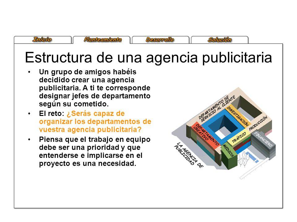 Estructura de una agencia publicitaria Un grupo de amigos habéis decidido crear una agencia publicitaria. A ti te corresponde designar jefes de depart