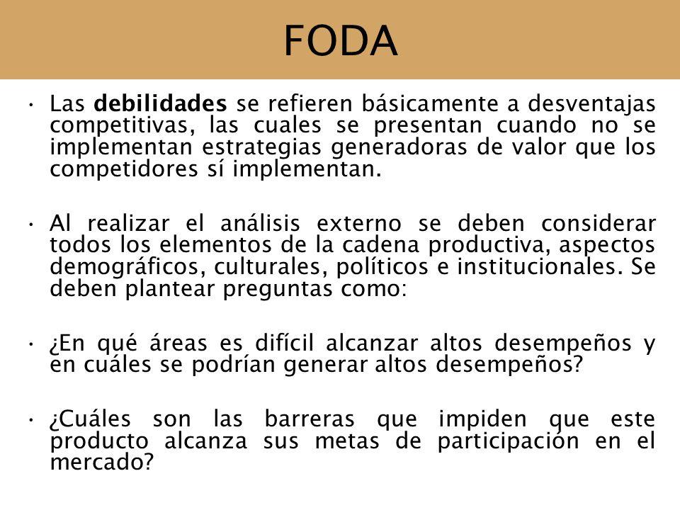 FODA Las debilidades se refieren básicamente a desventajas competitivas, las cuales se presentan cuando no se implementan estrategias generadoras de v