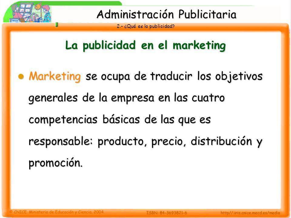 2.- ¿Qué es la publicidad? La publicidad en el marketing Marketing se ocupa de traducir los objetivos generales de la empresa en las cuatro competenci