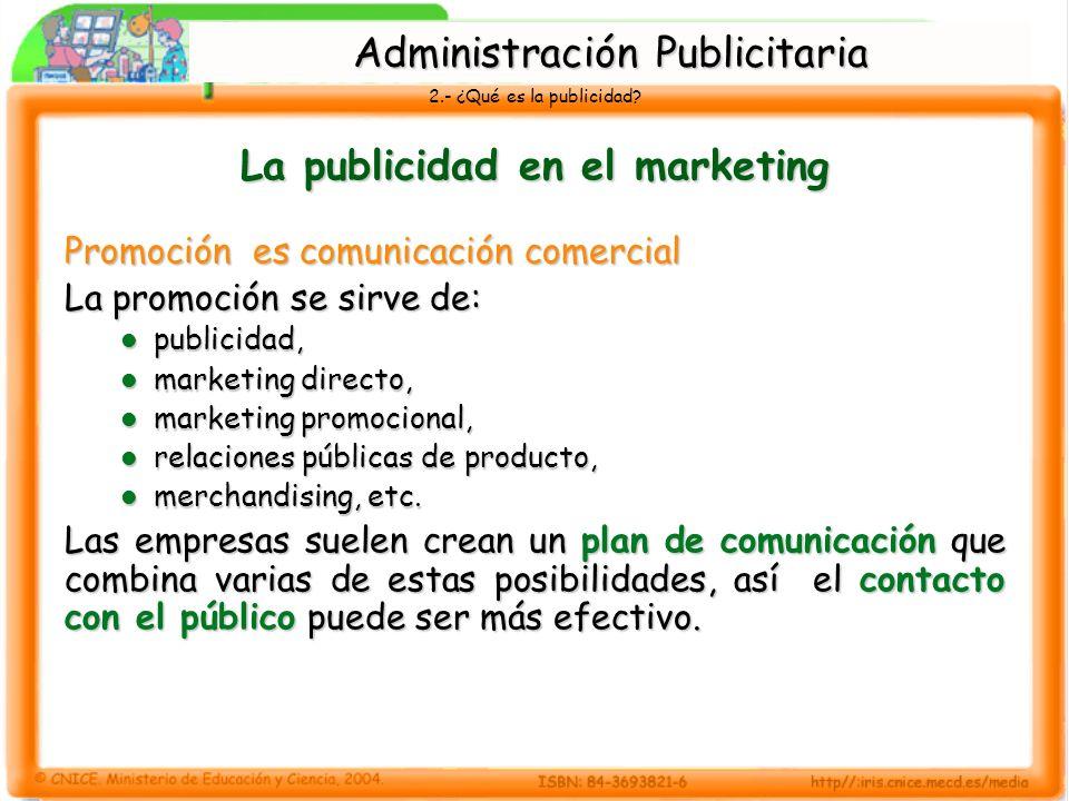 2.- ¿Qué es la publicidad? La publicidad en el marketing Promoción es comunicación comercial La promoción se sirve de: publicidad, publicidad, marketi