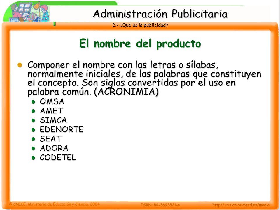 2.- ¿Qué es la publicidad? El nombre del producto Componer el nombre con las letras o sílabas, normalmente iniciales, de las palabras que constituyen
