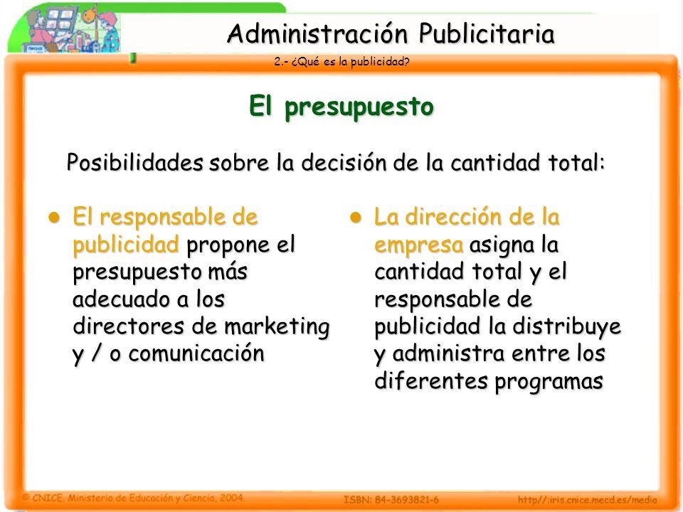 2.- ¿Qué es la publicidad? El presupuesto Posibilidades sobre la decisión de la cantidad total: El responsable de publicidad propone el presupuesto má