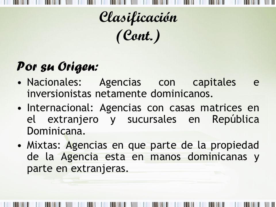 Clasificación (Cont.) Por su Origen: Nacionales: Agencias con capitales e inversionistas netamente dominicanos. Internacional: Agencias con casas matr