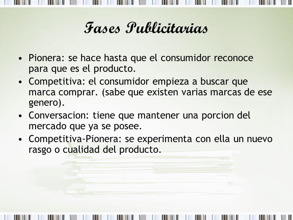 Fases Publicitarias Pionera: se hace hasta que el consumidor reconoce para que es el producto. Competitiva: el consumidor empieza a buscar que marca c