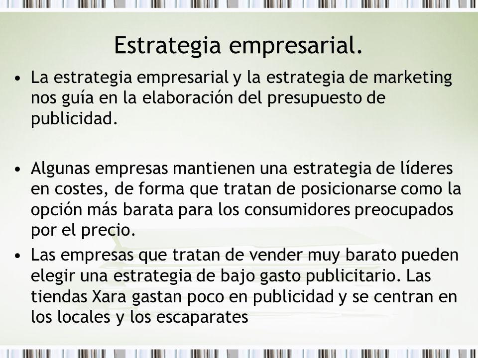 Estrategia empresarial. La estrategia empresarial y la estrategia de marketing nos guía en la elaboración del presupuesto de publicidad. Algunas empre