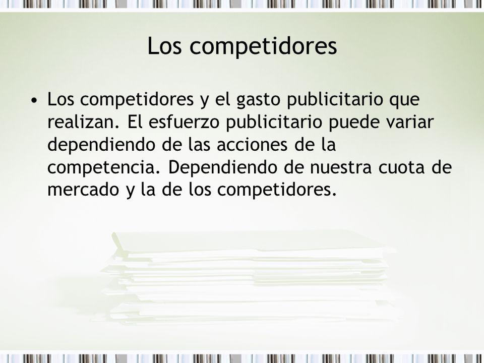 Los competidores Los competidores y el gasto publicitario que realizan. El esfuerzo publicitario puede variar dependiendo de las acciones de la compet
