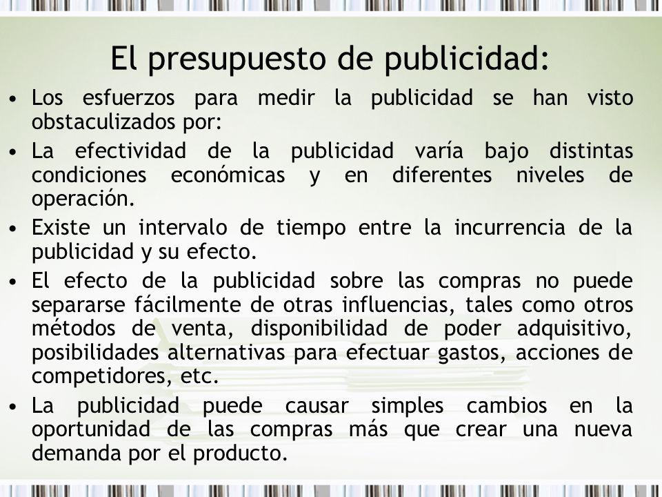 El presupuesto de publicidad: Los esfuerzos para medir la publicidad se han visto obstaculizados por: La efectividad de la publicidad varía bajo disti