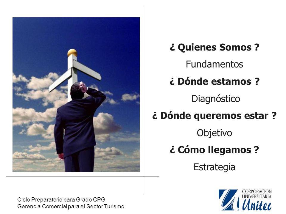 Ciclo Preparatorio para Grado CPG Gerencia Comercial para el Sector Turismo Visión Misión Valores Objetivos Estructura Quienes somos?