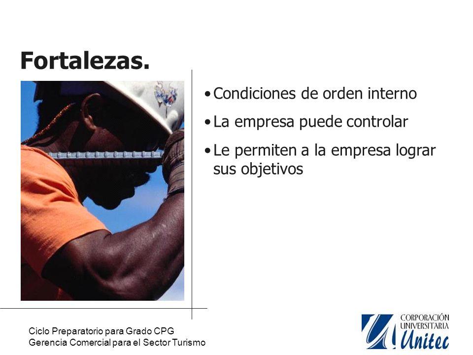 Ciclo Preparatorio para Grado CPG Gerencia Comercial para el Sector Turismo Debilidades.