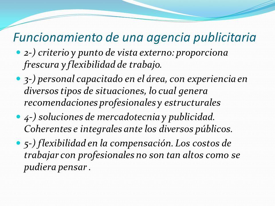 Funcionamiento de una agencia publicitaria 2-) criterio y punto de vista externo: proporciona frescura y flexibilidad de trabajo. 3-) personal capacit