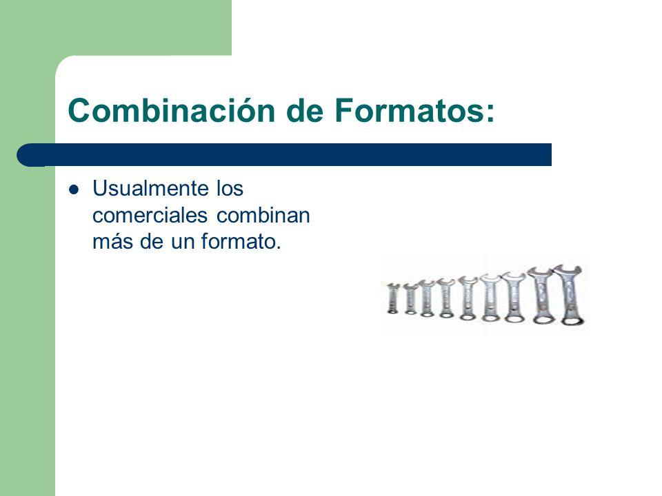 Combinación de Formatos: Usualmente los comerciales combinan más de un formato.