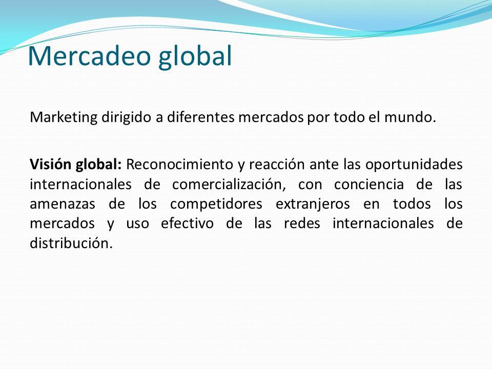 Mercadeo global Marketing dirigido a diferentes mercados por todo el mundo.