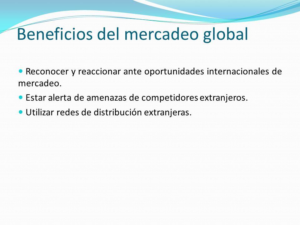 Beneficios del mercadeo global Reconocer y reaccionar ante oportunidades internacionales de mercadeo.