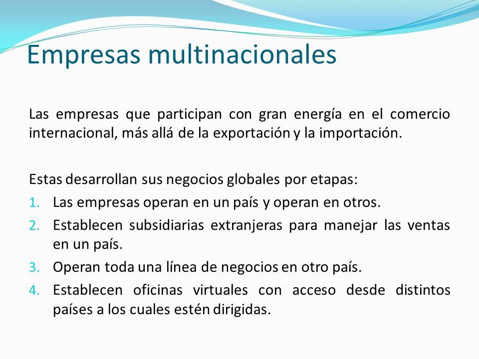 Empresas multinacionales Las empresas que participan con gran energía en el comercio internacional, más allá de la exportación y la importación.