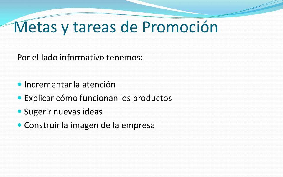 Metas y tareas de Promoción Por el lado informativo tenemos: Incrementar la atención Explicar cómo funcionan los productos Sugerir nuevas ideas Constr