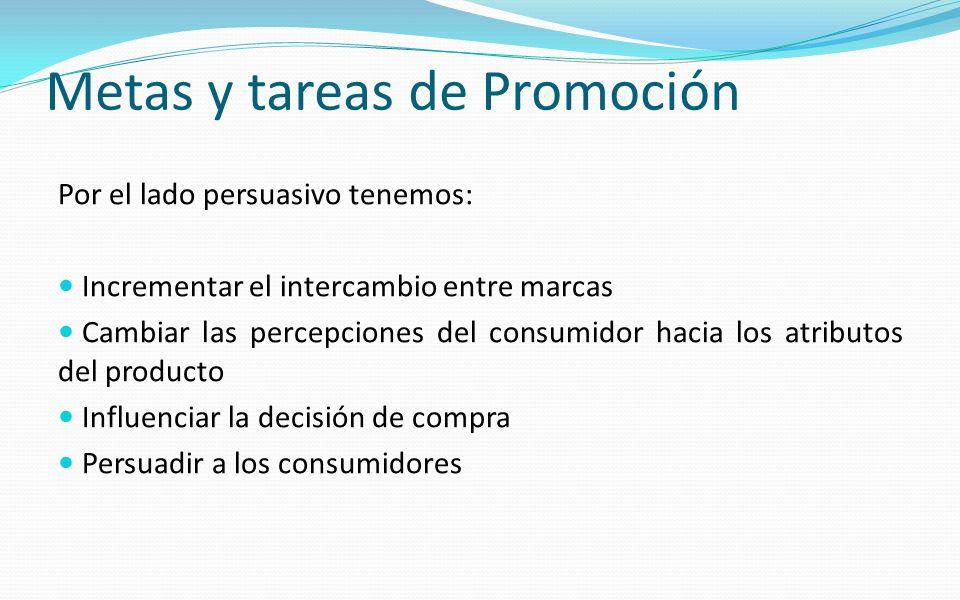 Metas y tareas de Promoción Por el lado persuasivo tenemos: Incrementar el intercambio entre marcas Cambiar las percepciones del consumidor hacia los