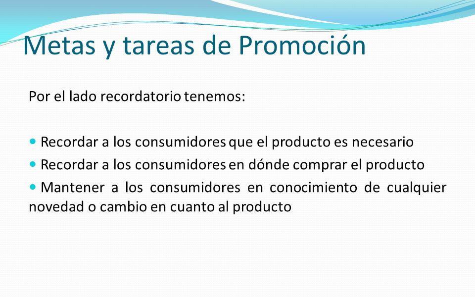 Por el lado recordatorio tenemos: Recordar a los consumidores que el producto es necesario Recordar a los consumidores en dónde comprar el producto Ma