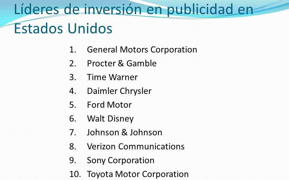 Líderes de inversión en publicidad en Estados Unidos 1.General Motors Corporation 2.Procter & Gamble 3.Time Warner 4.Daimler Chrysler 5.Ford Motor 6.W